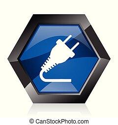 Plug dark blue glossy hexagon geometric diamond vector web icon with reflection on white background. Modern design hexagonal internet button.