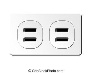 plug - Black and white plug in icon over white background...