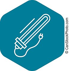 Plug electric heater icon, outline style