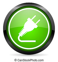 plug green glossy icon on white background