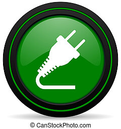 plug green icon electricity sign