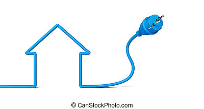 A blue wire and an electrical socket create the shape of a house