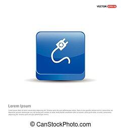 Plug Icon - 3d Blue Button