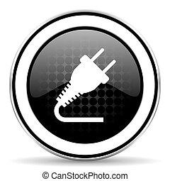 plug icon, black chrome button, electricity sign