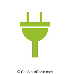 plug icon electricity sign. green icon