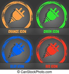 plug icon. Fashionable modern style. In the orange, green, blue, red design. Vector