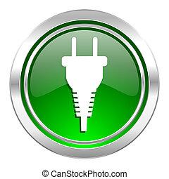 plug icon, green button, electric plug sign