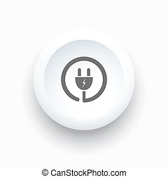 Plug icon on a white simple button