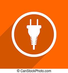 plug icon. Orange flat button. Web and mobile app design illustration