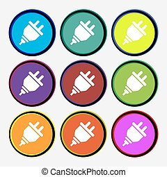 plug icon sign. Nine multi colored round buttons. Vector