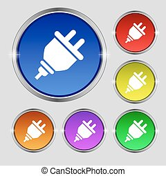 plug icon sign. Round symbol on bright colourful buttons. Vector
