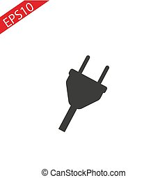 Plug Icon. uk electric plug icon. Illustration style is flat iconic black symbol on a white background