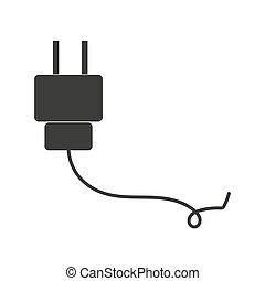 Plug Icon. uk electric plug icon. Illustration style is flat iconic black symbol on a white background.