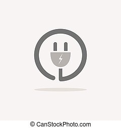 Plug icon with shade on a beige background