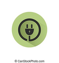 Plug icon with shadow on a green circle