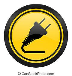 plug icon, yellow logo, electricity sign