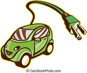 Illustration of a plug-in hybrid electric vehicle with electric plug coming out set on isolated background done in retro style.