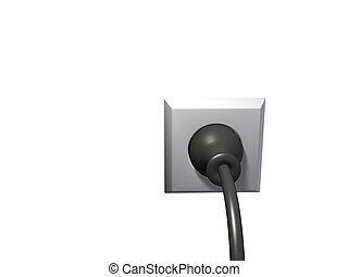 plug in outlet - An isolated black plug in white wall outlet...