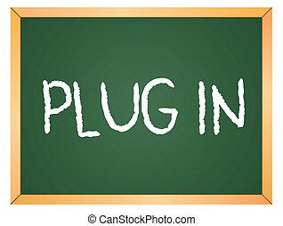 plug in written on chalkboard