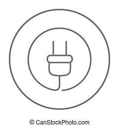 Plug line icon.