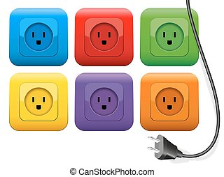 Plug Outlets Color - Connector plug which has plenty of...