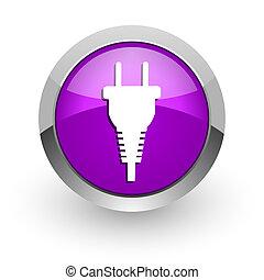 plug pink glossy web icon