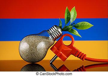 Plug, plant growing inside the light bulb and Armenia Flag. Green eco renewable energy concept.