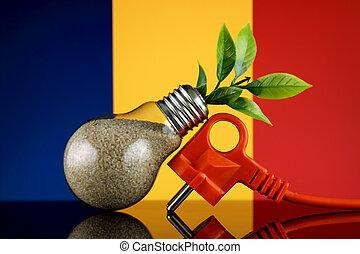 Plug, plant growing inside the light bulb and Chad Flag. ...