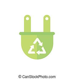 plug recycle sign green energy icon