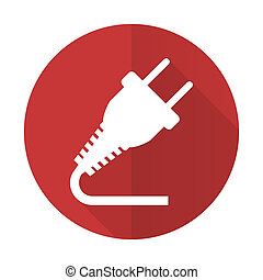 plug red flat icon electricity sign