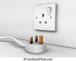 Plug socket - 3D render of a 3 pin plug and socket