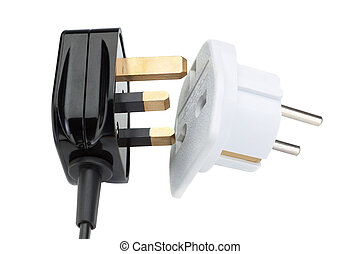 Plug socket for the transformation in the European style. On a white background.