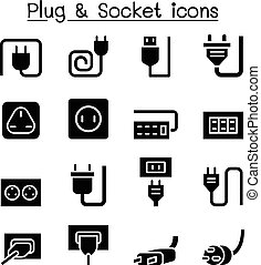 Plug & Socket icon set vector illustration graphic design