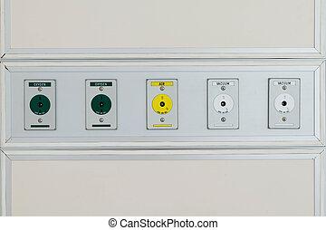 Plug socket on the wall of hospital