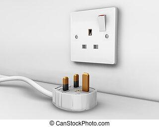 Plug socket - 3D render of a 3 pin plug and socket