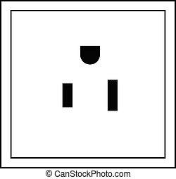 Plug socket. Thin line icon