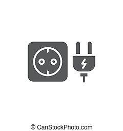 Plug socket vector icon symbol isolated on white background