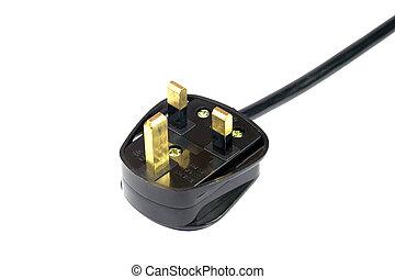 Plug - Three pin British mains plug with safety standard...