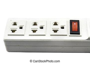 Plug socket three on white background.