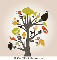 Food and meal on a plug. A vector illustration
