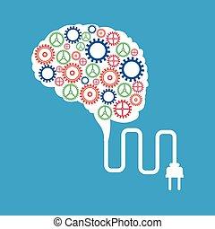 plugga, hjärna, begrepp, utrustar