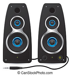 plugga, stereo, högtalare