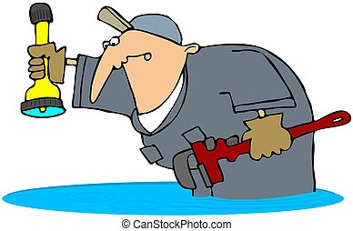 This illustration depicts a man in coveralls standing in water and holding a pipe wrench and flashlight.