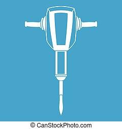 plugger, blanc, marteau pneumatique, icône
