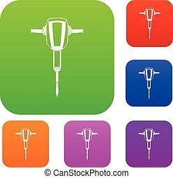 plugger, marteau, ensemble, pneumatique, collection