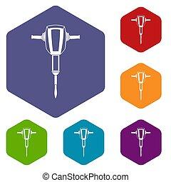 plugger, marteau, ensemble, pneumatique, icônes