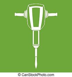 plugger, marteau pneumatique, vert, icône