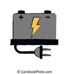 plugue, bateria, car, voltagem alta, mecânico, desenho