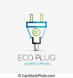 plugue, conceito, negócio, eco, companhia, logotipo