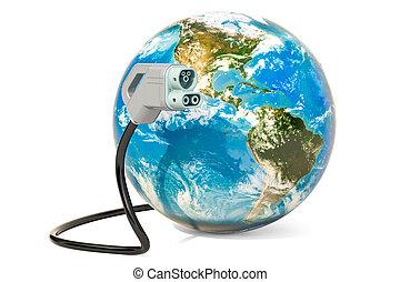 plugue, elétrico, globo, car, fazendo, terra, encarregando, 3d